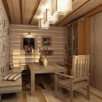 Дизайн интерьера комнаты отдыха в сауне