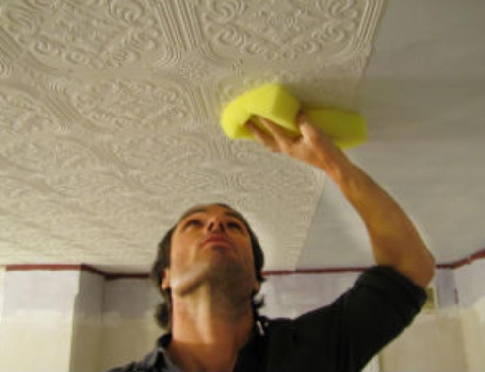 Оклейка потолков пенопластовой плиткой